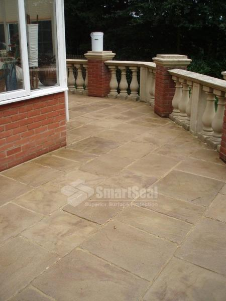 Paving slabs after application of sealant